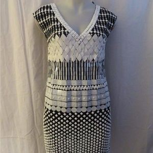 CATHERINE MALANDRINO BLACK,WHITE BEADED DRESS SZ 4